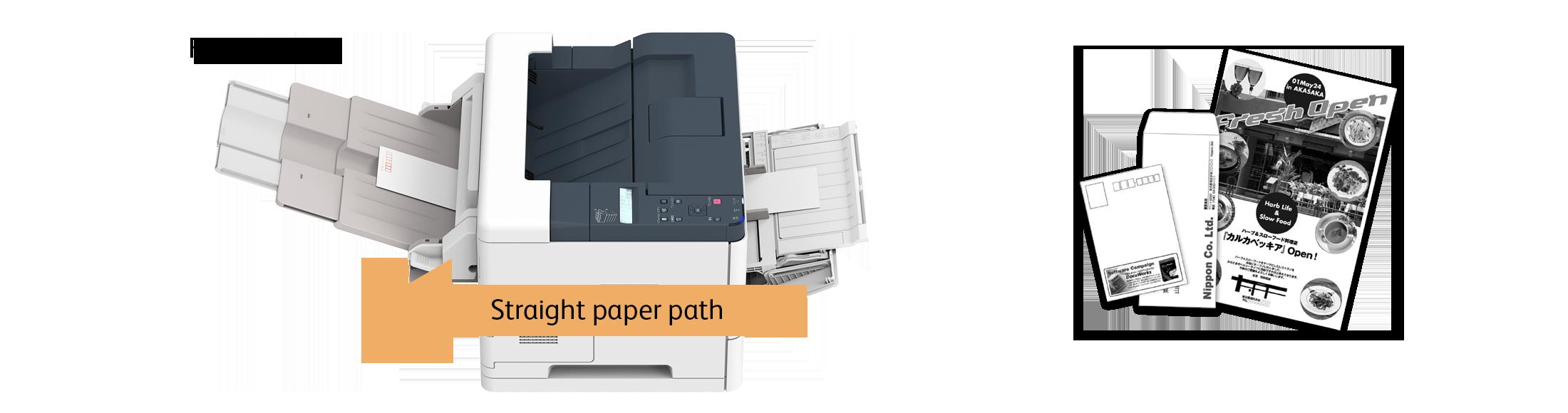 Straight paper path