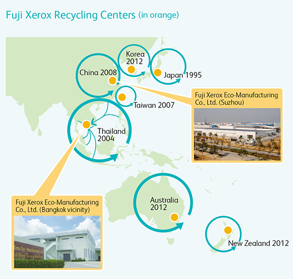 Map of Fuji Xerox Recycling Centers
