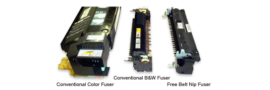 Fig.2: Size comparison between conventional fusers and Free Belt Nip Fuser