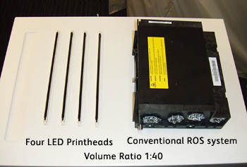 Figure 3: Comparison: Volume of ROS System and LED Printhead